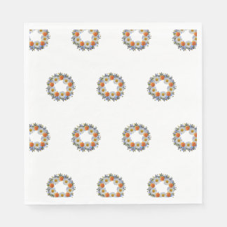 Wreath Daisy Flowers Floral Vector Orange Napkins Disposable Napkins