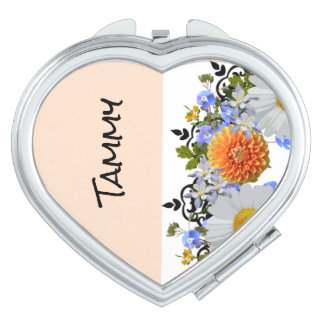 Wreath Daisy Flowers Floral Wedding OrangeTammy Makeup Mirror
