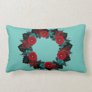 "Wreath ""Daisy Heart"" Red Flowers Hearts Pillow"