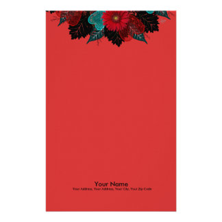 """Wreath """"Daisy Heart"""" Red Flowers Stationery"""