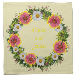 "Wreath ""Daisy Rose"" Flowers Floral Napkins"