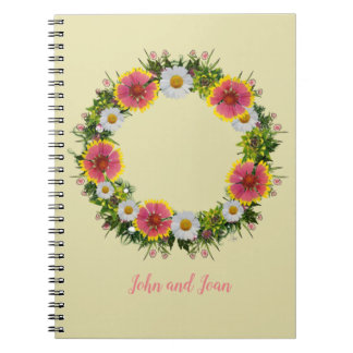 "Wreath ""Daisy Rose"" Flowers Floral Notebook"