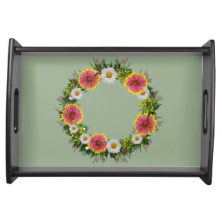"Wreath ""Daisy Rose"" Flowers Floral Serving Tray"
