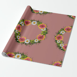 "Wreath ""Daisy Rose"" Flowers Floral Wrapping Paper"