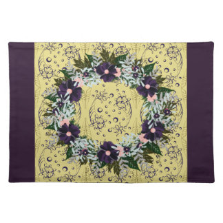 "Wreath ""Dark Purple"" Flowers Floral Placemat"