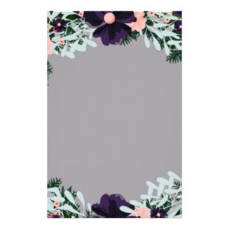"Wreath ""Dark Purple"" Flowers Floral Stationery"