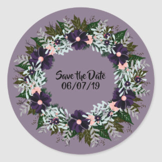 "Wreath ""Dark Purple"" Flowers Floral Stickers"