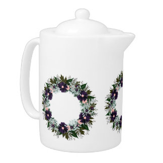 "Wreath ""Dark Purple"" Flowers Floral Teapot"