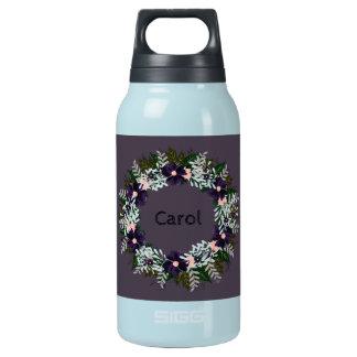 """Wreath """"Dark Purple"""" Flowers Floral Water Bottle"""
