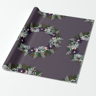"""Wreath """"Dark Purple"""" Flowers Floral Wrapping Paper"""