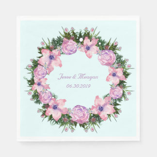 Wreath Dolly Peppermint Flowers Floral Vector Pink Disposable Napkin
