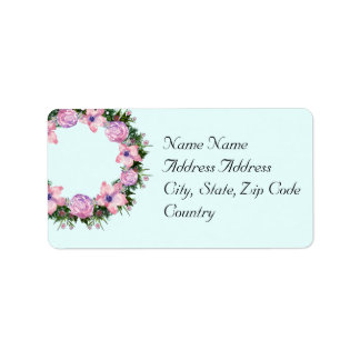 Wreath Dolly Peppermint Flowers Floral Vector Pink Label