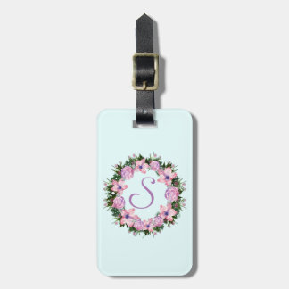 Wreath Dolly Peppermint Flowers Floral Vector Pink Luggage Tag