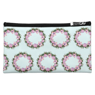 Wreath Dolly Peppermint Flowers Floral Vector Pink Makeup Bag