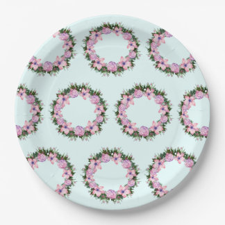 Wreath Dolly Peppermint Flowers Floral Vector Pink Paper Plate