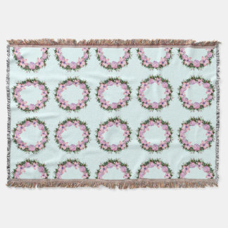 Wreath Dolly Peppermint Flowers Floral Vector Pink Throw Blanket