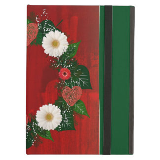 "Wreath ""Doodly Hearts"" Red/White Flowers iPad Case"