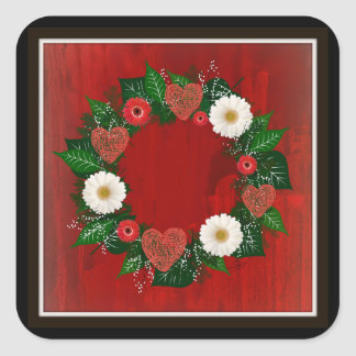 "Wreath ""Doodly Hearts"" Red/White Flowers Stickers"