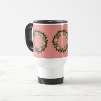 "Wreath ""Enjoy"" Flowers Floral Leaves Travel Mug"