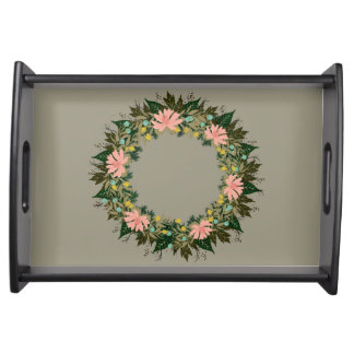 "Wreath ""Enjoy"" Flowers Floral Serving Tray"