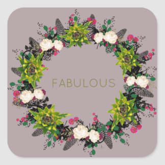 """Wreath """"Fab Cab"""" Flowers Floral Leaves Stickers"""