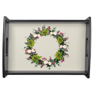 "Wreath ""Fab Cab"" Flowers Floral Serving Tray"