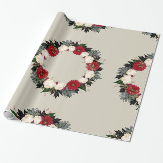 """Wreath """"Fleur"""" Flowers Leaf Floral Wrapping Paper"""