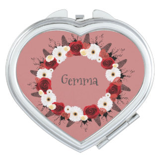 Wreath Flowers Floral Vector Red White Gemma Travel Mirrors