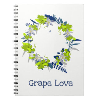 "Wreath ""Grape Love"" Flowers Floral Notebook"
