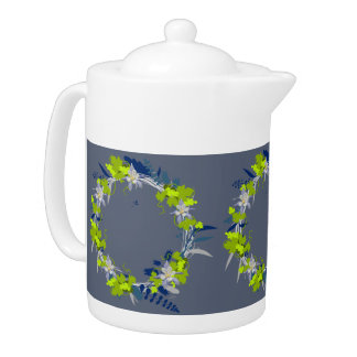 "Wreath ""Grape Love"" Flowers Floral Teapot"