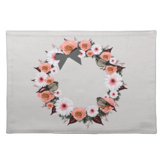 "Wreath ""Gray Bow"" Flowers Floral Placemat"