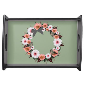 "Wreath ""Gray Bow"" Flowers Floral Serving Tray"
