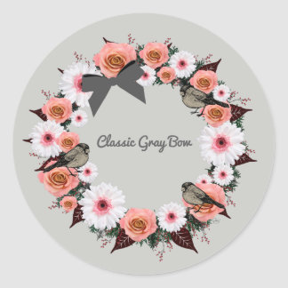 """Wreath """"Gray Bow"""" Flowers Floral Stickers"""