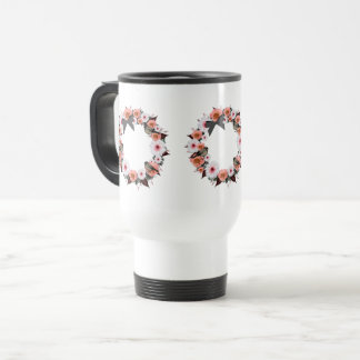 "Wreath ""Gray Bow"" Flowers Floral Travel Mug"