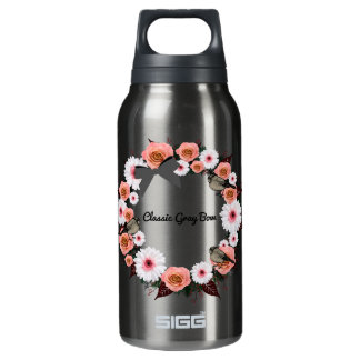 """Wreath """"Gray Bow"""" Flowers Floral Water Bottle"""