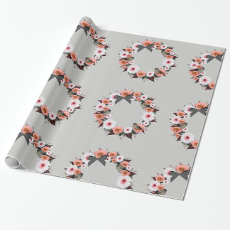 "Wreath ""Gray Bow"" Flowers Floral Wrapping Paper"