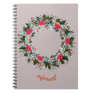 "Wreath ""Gray Red"" Flowers Floral Notebook"