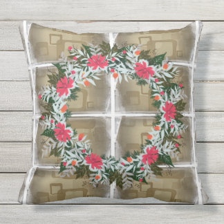 "Wreath ""Gray Red"" Flowers Floral Pillow"