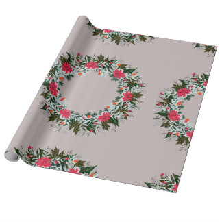 """Wreath """"Gray Red"""" Flowers Floral Wrapping Paper"""