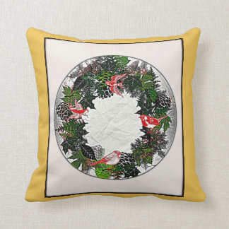 "Wreath ""Green Pine Cone"" Red Birds Pillow"