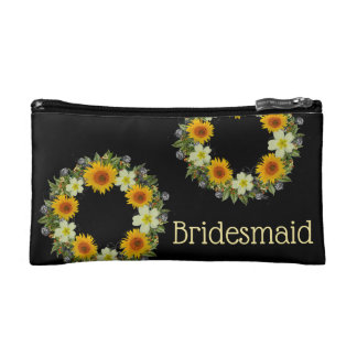 "Wreath ""Gypsy Wedding"" Flowers Floral Cosmetic Bag"