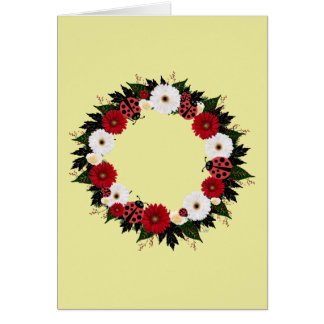 "Wreath ""Lady Bug"" Flowers Floral Greeting Card"