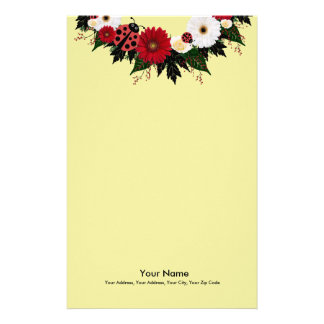 "Wreath ""Lady Bug"" Red/White Flowers Stationery"