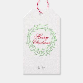 Wreath Merry Christmas personalized Pack Of Gift Tags