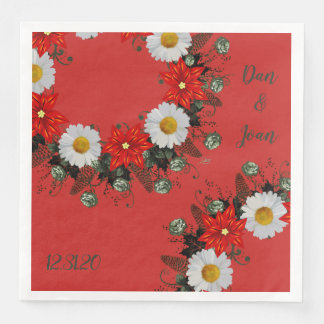 "Wreath ""Merry Wedding"" Flowers Floral Napkins"