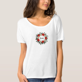 "Wreath ""Merry Wedding"" Flowers Floral Red T-Shirt"
