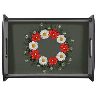"""Wreath """"Merry Wedding"""" Flowers Floral Serving Tray"""