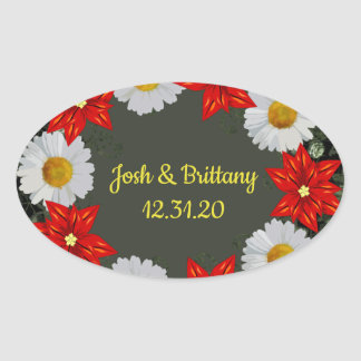 """Wreath """"Merry Wedding"""" Flowers Floral Stickers"""