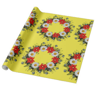"""Wreath """"Merry Wedding"""" Flowers Wrapping Paper"""