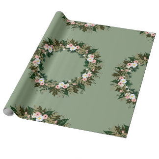 """Wreath """"Mini Flower"""" Flowers Floral Wrapping Paper"""